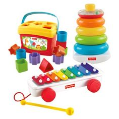 Fisher-Price Classic Infant Trio Gift Set, $25-30 dollars, can be bought separately at any major toy or discount department store, or together at Target (as of Nov. 2013).