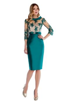 Green pencil skirt dress lace see through bodice silver