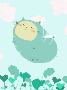 Flying plumpy cat by kim kiwi #cute