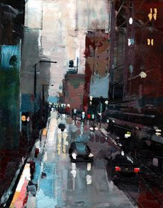 """State Street,"" original figurative painting by artist Michael Goro (USA) available at Saatchi Art #SaatchiArt"