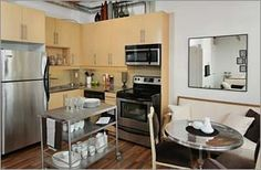 #FeatherFactory #Lofts #Toronto Loft Kitchen, Lofts, Toronto, Kitchens, Table, Furniture, Home Decor, Loft Room, Loft