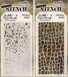 New for CHA-W 2014: layering stencils from the Tim Holtz collection for Stampers Anonymous.