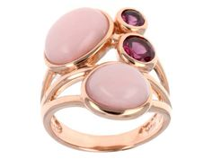 Stratify(Tm) Oval Cabochon Peruvian Pink Opal,.58ctw Round Rhodolite 18k Rose Gold Over Silver Ring
