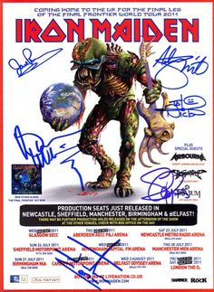 iron maiden tour posters | Iron Maiden Final Frontier Tour Signed Autographed A4 Photo Print ...