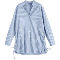 Lace Up Button Up Striped Blouse (128145 PYG) ❤ liked on Polyvore featuring tops, blouses, stripe blouse, button down blouse, lace up front top, laced up top and blue blouse