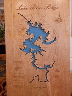 This is a beautifully detailed, laser engraved and precision cut topographical Map of Lake Blue Ridge in Fannin County, Georgia with the following interesting stats carved into it: