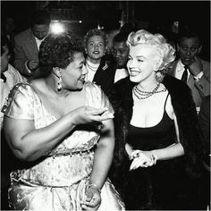 """In the 1950s, a popular nightclub, Mocambo would not book Ella Fitzgerald because she was black. Fortunately for Fitzgerald, she had a powerful and unlikely benefactor: Marilyn Monroe. """"I owe Marilyn Monroe a real debt…it was because of her that I played at the Mocambo, a very popular nightclub in the '50s. She personally called the owner of the Mocambo, and told him she wanted me booked immediately, and if he would do it, she promised she would take a front table every night. She told him - ..."""