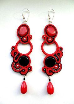 Soutache earrings Corrida red and black long SOUTACHE earrings corals and onyx beads. £25,00, via Etsy.
