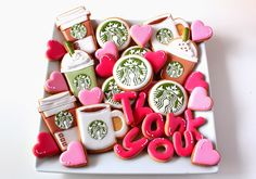 I could do without the Starbucks coffee cookies, but love the hearts and letters. Perfect for a thank you gift. Coffee Cookies, Iced Cookies, Cookies Et Biscuits, Sugar Cookies, Starbucks Coffee, Starbucks Quotes, Logo Cookies, Baking Cookies, Decorated Cookies