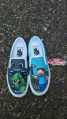 Don't settle on ordinary shoes when you can get your kid's special hand-painted shoes. Take a look at all the awesome hand painted shoes for kids we found. Painted Canvas Shoes, Custom Painted Shoes, Hand Painted Shoes, Custom Vans, Custom Shoes, Custom Sneakers, Custom Clothes, Diy Clothes, Minecraft Shoes