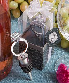 Diamond ring wine bottle stoppers for inside wine glass favors