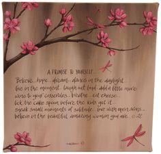 New Lisa Pollock decorative art wall canvas Pink Cherry Blossum Dreams gift idea