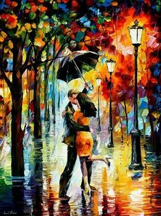 Leonid Afrimov - Kiss under an umbrella with autumn colors