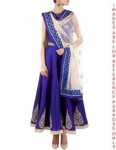 Blue net yoke anarkali suit. Featuring a blue raw silk long floor length anarkali suit paired with silver tar patch on kali, hem line Lining satin with closed neck pattern with white embroidery dupatta teamed with embroidery work around the dupatta border with sleeveless. Care: Dry Clean Only Size: S M L XL XXL