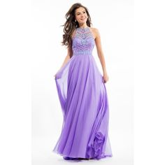 Rachel Allan 7239 Prom Long Dress Long High Neckline Sleeveless ($398) ❤ liked on Polyvore featuring dresses, gowns, formal dresses, lilac, long sequin dress, formal evening dresses, long sequin gown, sequin gown and long prom dresses
