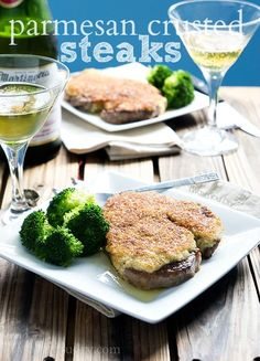 These quick and easy Parmesan Crusted Steaks will make you think you stepped inside a fancy steakhouse right inside our dining room! A Food, Good Food, Yummy Food, Parmesan Crusted Steak, Beef Recipes, Cooking Recipes, Beef Dishes, Yummy Eats, Food Processor Recipes