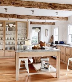 """Narrow cabinets along the wall to create more storage space!  Love how open it looks""""  Create Home Storage Wooden Kitchen, Rustic Kitchen, Country Kitchen, Kitchen Dining, Kitchen Decor, Kitchen Ideas, European Kitchens, Luxury Kitchens, Küchen Design"""