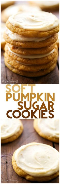 Soft Pumpkin Sugar Cookies with Caramel Cream Cheese Frosting