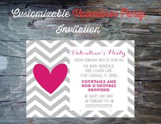 Valentines Day Party Invitation Printable by FeatheredHeartPrints, $15.00- simple valentine party invitation chevron and single heart