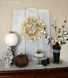 A Book Page Wreath and More Fall Decor by Green Willow Pond