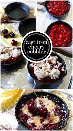 How to make cast iron cherry cobblers! SO GOOD! Pizzazzerie.com