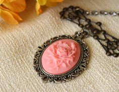 Pink Rose Cameo Necklace by KukoCreations on Etsy