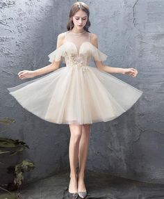 Description Cute round neck tulle champagne short prom dress, homecoming dress, customized service and Rush order are available Cheap Prom Dresses Online, Prom Dresses Under 100, Homecoming Dresses, Short Dresses, Bridesmaid Dresses, Formal Dresses, Dress Prom, Wedding Dress, Beautiful Prom Dresses