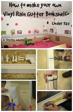 How to make a Rain Gutter Bookshelf. Great kids room idea.  This would save so much space and time!
