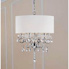 Allured Crystal Chandelier/ Solid White Shade | Overstock™ Shopping - Great Deals on Chandeliers & Pendants