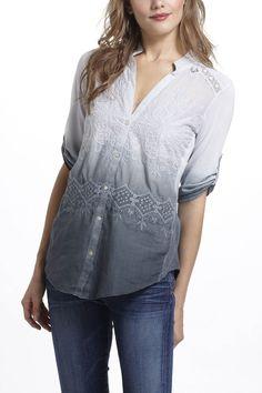 Dip-Dye Eyelet Shirt - Anthropologie.com