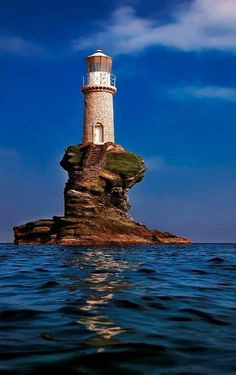 Tourlitis lighthouse, in Andros Island (Cyclades),Greece // by Antonis Lemonakis