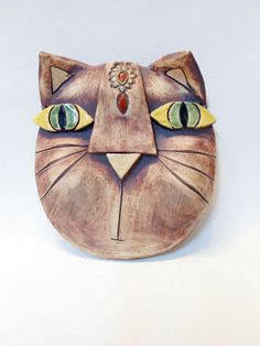 Abstract Kitty Wall Mask Porcelain by Uturn on Etsy, $75.00   #ceramicmask  #stonewaremask  #kittymask