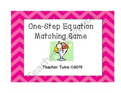 One-Step Equation Task Cards CCS 6.EE.B.5 from Teacher Twins on TeachersNotebook.com -  (10 pages)  - This product contains 12 one-step equations. Students are to solve the equation and find the answer on another card. Studen