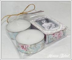 tea lights adorned with coordinating paper Matchbox Crafts, Craft Packaging, Decoupage Furniture, Clothes Crafts, Beautiful Gifts, Creative Gifts, Craft Fairs, Washi Tape, I Card