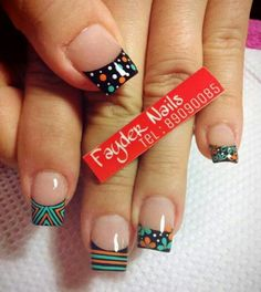 Puntas                                                                                                                                                      Más Fabulous Nails, Gorgeous Nails, Perfect Nails, Pretty Nails, Hot Nails, Hair And Nails, Dot Nail Art, Nails Only, Bright Nails