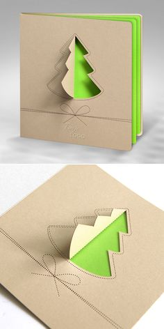 christmas cards, design, tree, green, laser, 3d style,