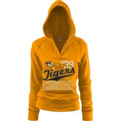 Mizzou Tiger Stores : Missouri Tigers Ladies Gold Rugby Distressed Deep V-neck Hoodie Sweatshirt