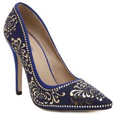 Elegant Stiletto Heel and Floral Print Design Pumps For Women