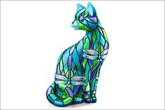 Stained-Glass Cat Figurine by The Hamilton Collection