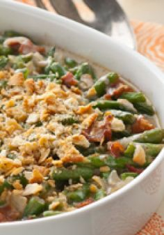 Smoky Green Bean Casserole — Savory bacon, a cheesy sauce and crushed crackers. Ordinary green bean casserole recipes, watch out: your reign might be over.