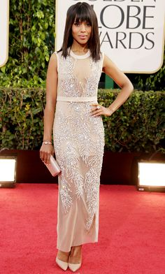 Kerry Washington at the Golden Globes 2013 in a nude semi-sheer gown by Miu Miu with intricate all-over rhinestone beading and nude Prada pumps
