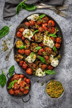 Grilled Eggplant Parmesan - made with roasted tomatoes, burrata cheese and garlic and herb breadcrumbs