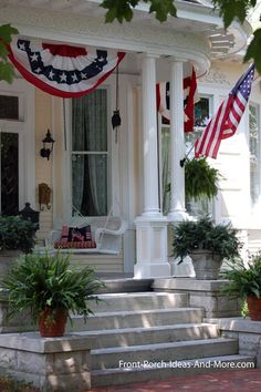 Porches were meant for celebrations and this one's a beaut! The flag, buntings, and pillow make for a festive porch were meant for celebrations and this one's a beaut! The flag, buntings, and pillow make for a festive porch.