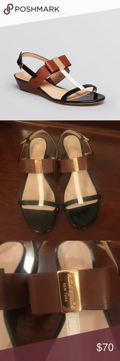 """Kate Spade ♠️ Sandals Beautiful and versatile pair of Kate Spade ♠️ wedge heel sandals.  Gently used excellent condition with typical signs of wear. Multi colored neutral tones. Patent and leather with gold tone hardware. 1 1/2 """" heel.        Nonsmoking *** kate spade Shoes Sandals"""