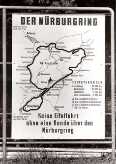 "Old sign – the slogan on the bottom says: ""There shouldn't be a trip through the Eifel region without a lap on the Nürburgring""."