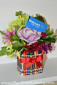 crayon bouquet teachers gift tutorial