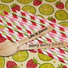 Sweet stripey paper straws to serve in your party beverages and darling little dessert spoons with sweet little words..♥