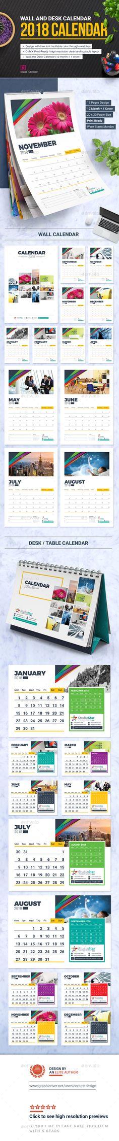 2018 Calendar Design Template | Wall and Desk / Table Calendar 2018 - Calendars Stationery