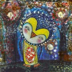 Whimsical Owl Art  8x8 inch Limited Edition Print by juliettecrane, $30.00