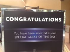 """""""Guest of the Day"""" - random draw from daily arrivals list = you could receive a complimentary upgrade and gift package"""